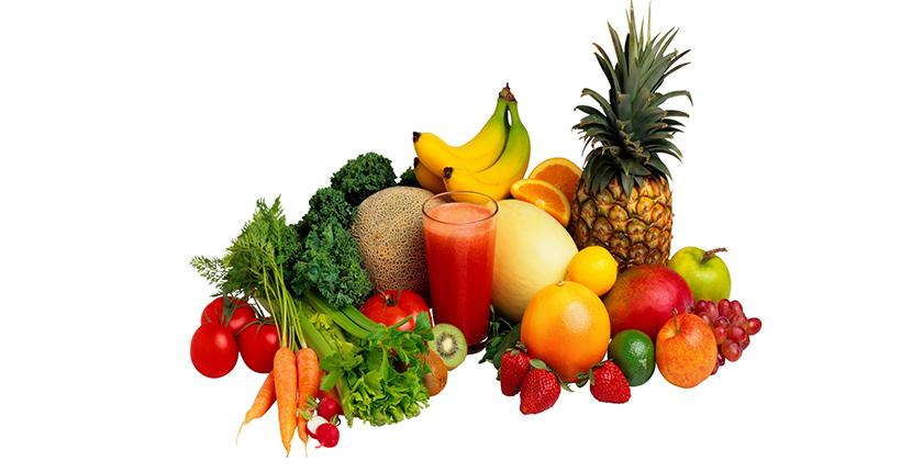 Frutas y verduras con colores vivos
