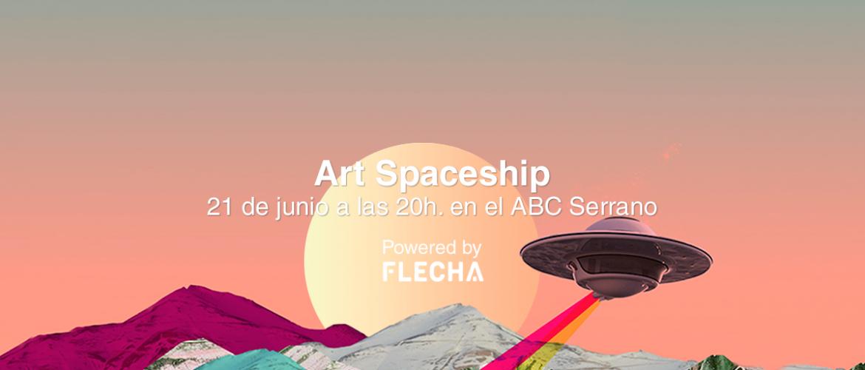 Art spaceship fondo naranja con montañas y platillo volante
