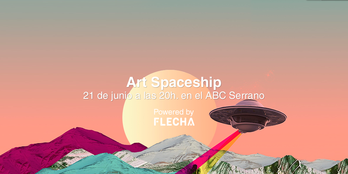 art spaceship fondo naranja con montaas y platillo volante